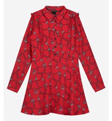 Nik en Nik girls jurk Chainy dress in de kleur poppy red