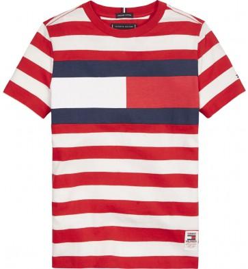 Tommy Hilfiger gestreept t-shirt met logo in de kleur rood