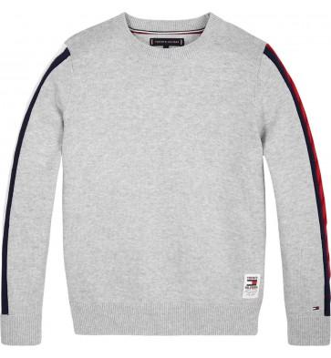 Tommy Hilfiger fijngebreide trui met bies in de kleur grijs