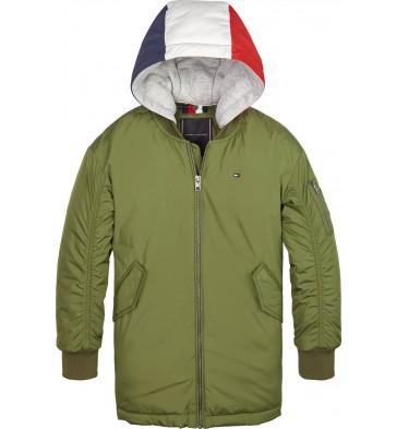 Tommy Hilfiger boys jas hooded flight parka in de kleur army green