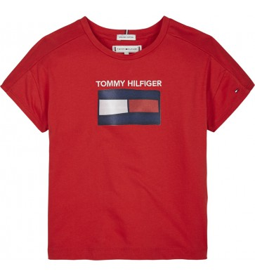 Tommy Hilfiger kids girls t-shirt fun graphic flag in de kleur rood