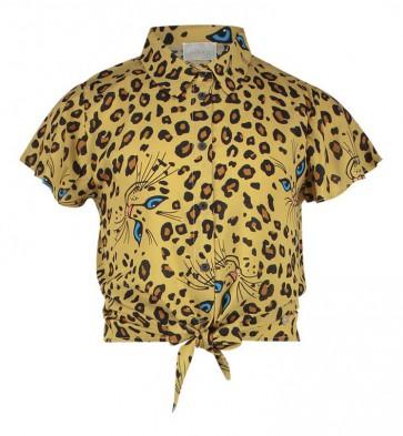 AI&KO girls korte knoop blouse met panter print Cobi Cat in de kleur sundan brown