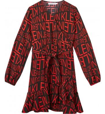 Calvin Klein kids girls distorted logo dress jurk in de kleur zwart/rood