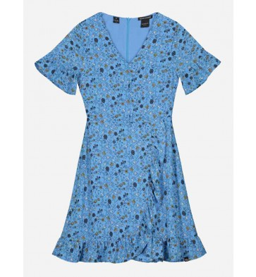Nik en Nik kids girls jurk Bracha dress met bloemenprint in de kleur fresh blue