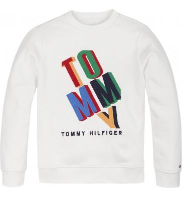 Tommy Hilfiger kids boys sweater trui fun artwork sweatshirt in de kleur wit