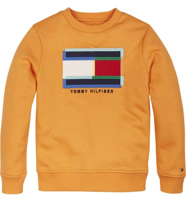 Tommy Hilfiger kids boys fun artwork sweatshirt trui in de kleur oranje