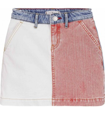 Tommy Hilfiger kids girls carpenter denim skirt americana color block in de kleur jeansblauw