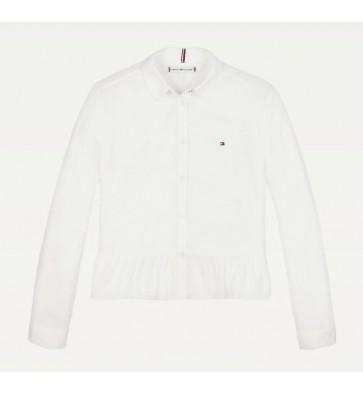 Tommy Hilfiger kids girls peplum viscose blouse in de kleur off white