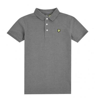 Lyle and scott junior kids polo shirt in de kleur antraciet grijs