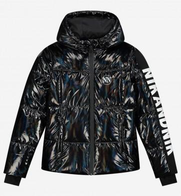 Nik en Nik girls extra warme winterjas Elsy jacket in de kleur glanzend zwart
