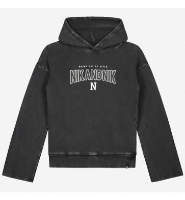 Nik en Nik girls sweater trui Dianna hoodie in de kleur antraciet grijs