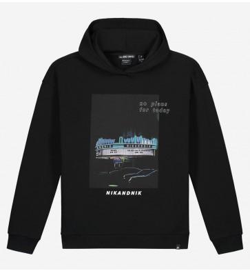 Nik en Nik kids boys Dotan hoodie sweater met fotoprint in de kleur zwart
