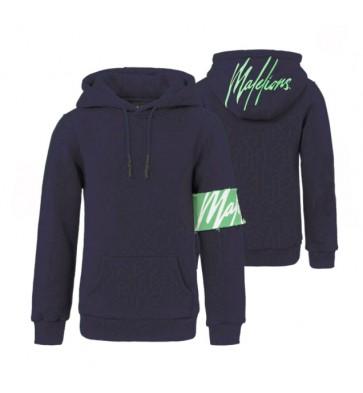 Malelions junior kids hooded sweater trui in de kleur donkerblauw/mint