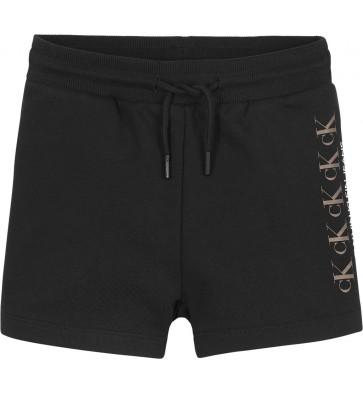 Calvin Klein kids girls foil logo shorts korte broek in de kleur zwart