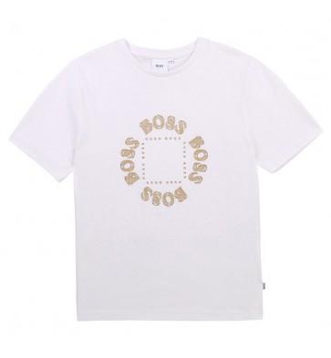 Hugo Boss kids  boys t-shirt met gouden logo in de kleur off white