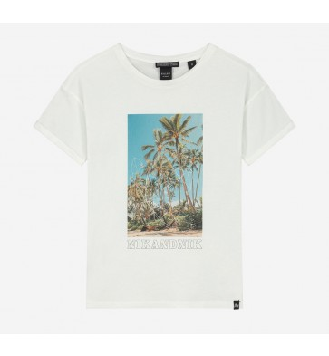 Nik en Nik girls t-shirt summertime met photoprint in de kleur off white