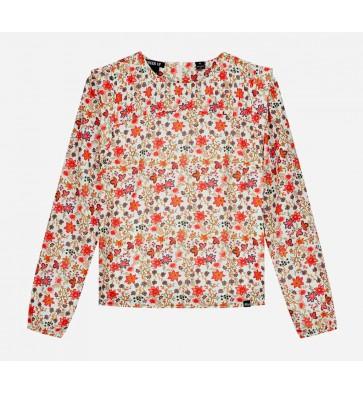 Nik en Nik girls blouse met bloemenprint in de kleur retro pink