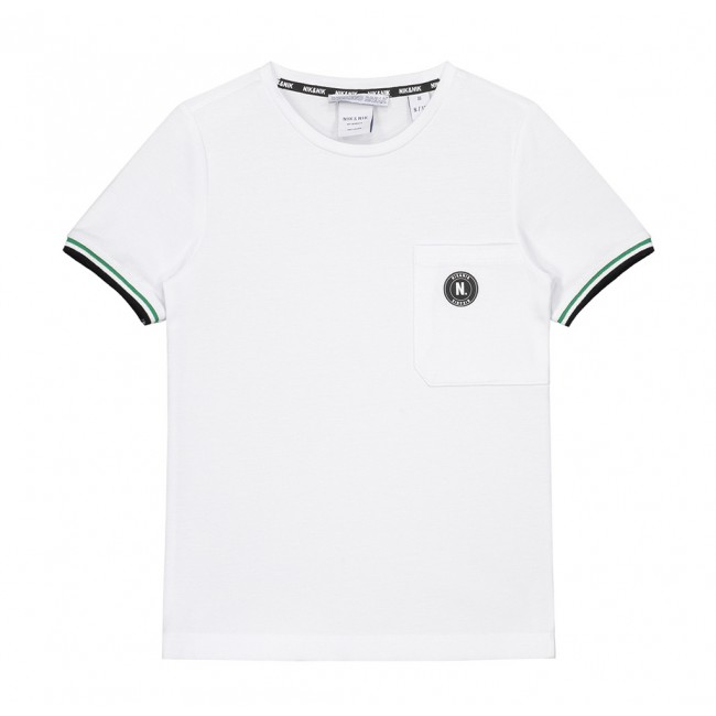 8cb4b41f528 Nik en Nik pique macon t-shirt met groene bies in de kleur wit ...
