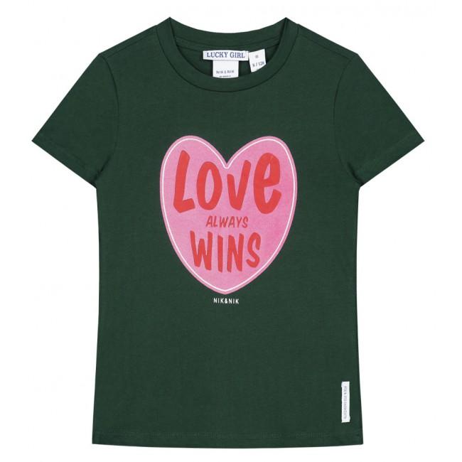 3c8ec811485 NIK en NIK Love Wins t-shirt in de kleur donkergroen | Studio Kwetters