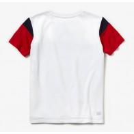 Lacoste t-shirt quick dry met krokodil in de kleur rood/wit/blauw