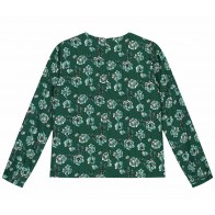 Nik en Nik girls blouse Obby flower top in de kleur dark green groen