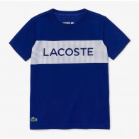 Lacoste kids boys t-shirt met letter logo print in de kleur kobalt blauw