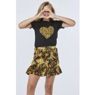 AI&KO girls t-shirt met panter hart Lizzie heart in de kleur zwart