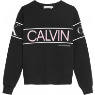 Calvin Klein kids girls logo sweater trui sweatshirt in de kleur zwart