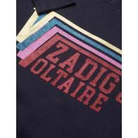 Zadig en Voltaire girls sweater trui glitter tekst in de kleur vintage blauw