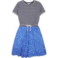 Tommy Hilfiger kids girls stripe combi dress jurk in de kleur blauw