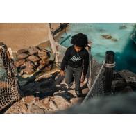 Malelions kids junior hoodie signature sweater in de kleur zwart