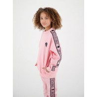 Reinders kids girls sweater trui met logo band in de kleur zachtroze