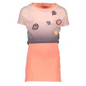 Nono jurk met crop top en applicaties in de kleur oranje