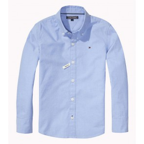 Tommy Hilfiger blouse solid oxford shirt in de kleur lichtblauw