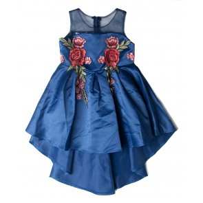 Smile today jurk dress met bloemen applicaties in de kleur blauw