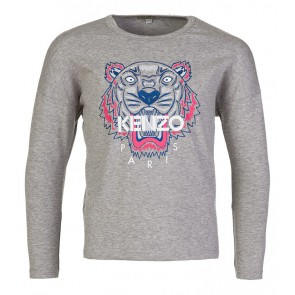 Kenzo kids longsleeve shirt Tiger in de kleur light grey grijs