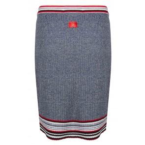 Indian blue jeans knitwear rib rokje met strepen in de kleur gemêleerd blauw