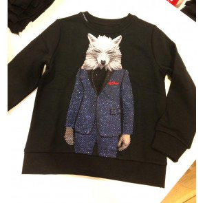 My brand sweater trui wolf suit in de kleur black zwart