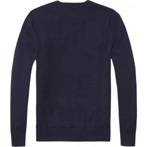 Tommy Hilfiger fijngebreide trui met geborduurd logo in de kleur donkerblauw