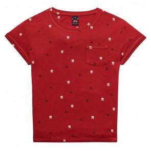 Scotch R'belle t-shirt all over print yin yang in de kleur rood