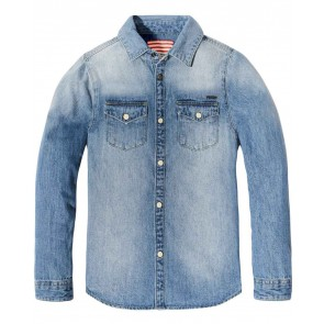 Scotch Shrunk soepele denim jeans blouse in de kleur jeansblauw
