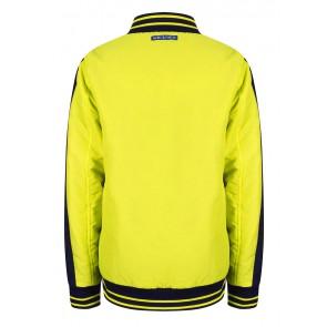 Indian blue jeans jas zomerjas reversible short jacket in de kleur blauw/geel