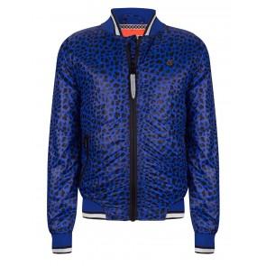 Indian blue jeans jas zomerjas bomber jacket met panter print in de kleur blauw