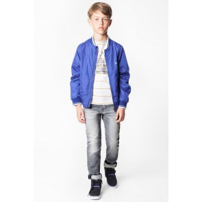 Hugo Boss kids jeans broek skinny fit met adjustable waistband in de kleur grijs
