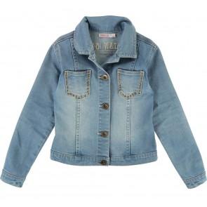 Billieblush jeans jasje Summer Camp met studs en print op achterpand