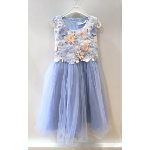Smile today tule jurk met bloemen communie/bruiloft in de kleur lichtblauw