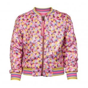 Le Big bomber jacket bezet met kleine pailletjes in de kleur roze