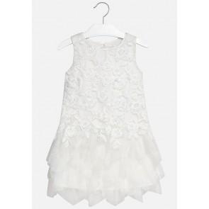 Mayoral tule jurk met borduursels in de kleur wit