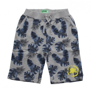 D-rak sweat short met all over blad print in de kleur grijs/blauw