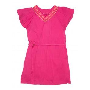 Le Big jersey jurk met geborduurde hals in de kleur roze